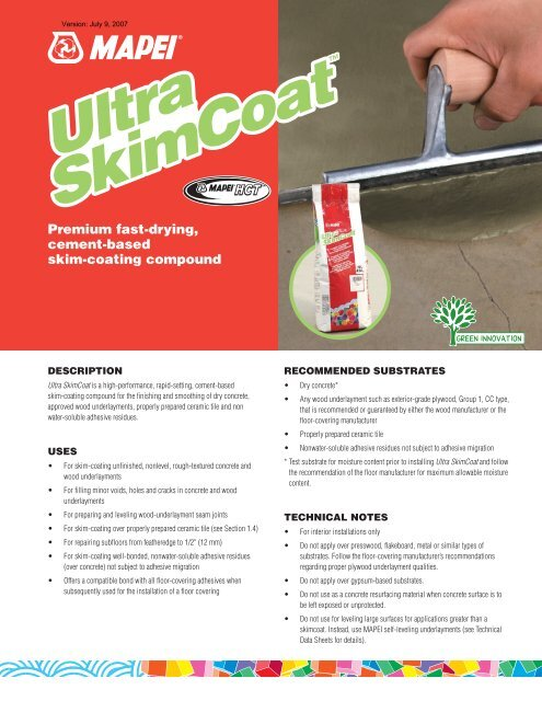 Mapei Ultra Skim Coat Product Data Sheet - Brock White