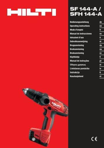 Hilti SF 144A CPC Drill Instruction Manual - Brock White
