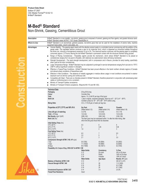 Sika M-Bed Standard Grout Data Sheet - Brock White