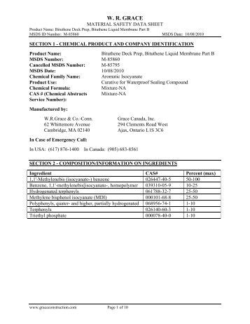 MATERIAL SAFETY DATA SHEET - Grace Construction Products