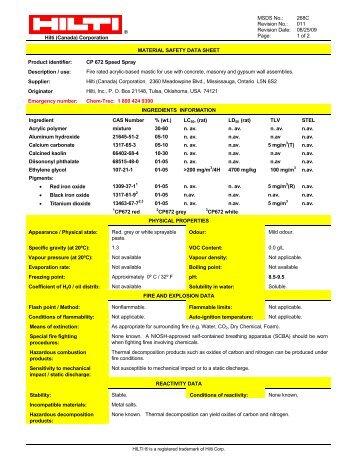 Hilti CP672 Firestop Spray MSDS - Brock White