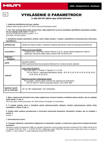 REBAR Súbor Adobe Acrobat (.pdf) - Hilti