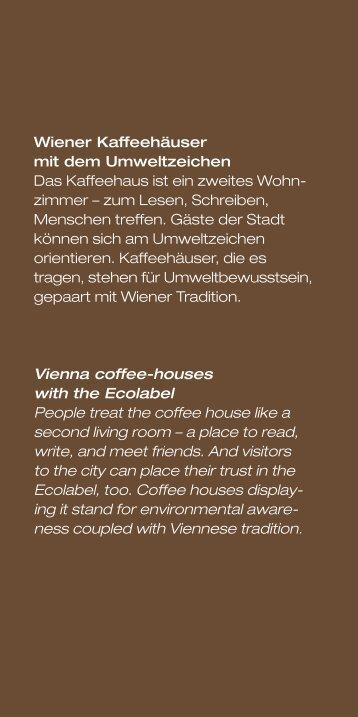 Wiener Kaffeehäuser mit dem Umweltzeichen Das Kaffeehaus ist ...