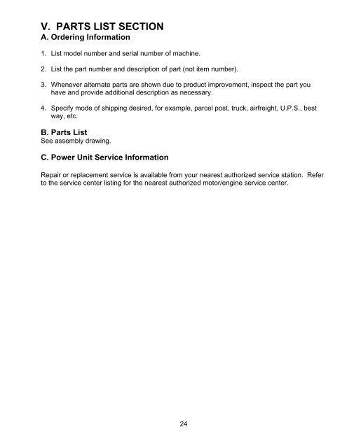 Nearest Service Station >> V Parts List Section A