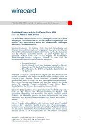 Qualitätsoffensive auf der Callcenterworld 2008 (18. - 21. Februar ...