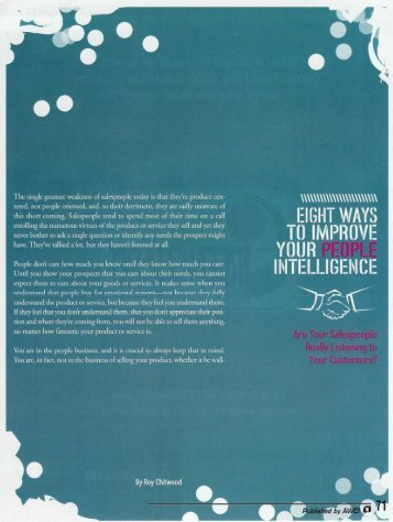 Eight Ways to Improve Your People Intelligence - AWCI
