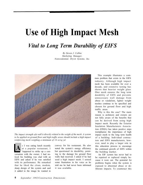 Use Of High Impact Mesh Vital To Long Term Durability Of Eifs Awci
