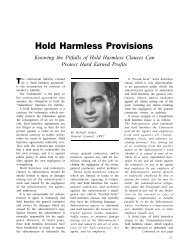 Hold Harmless Provisions - AWCI
