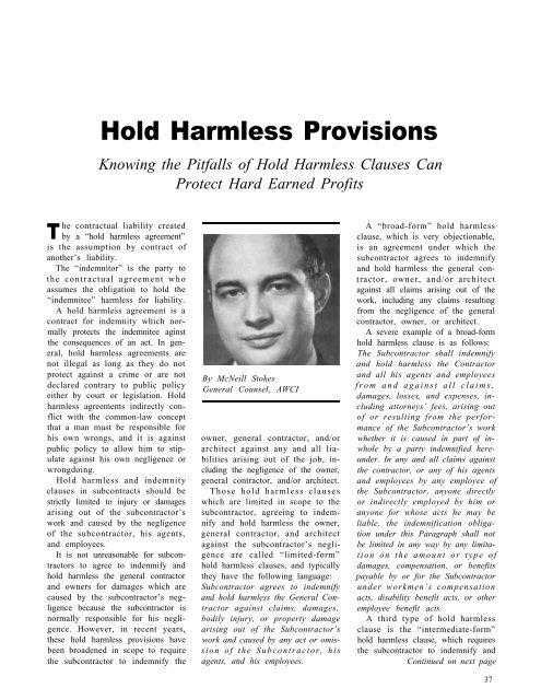 Hold Harmless Provisions - AWCI
