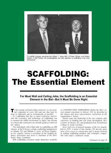 Scaffolding: The Essential Element - AWCI