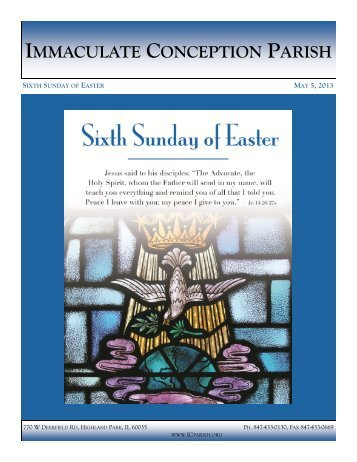 May 5, 2013: Sixth Sunday of Easter - Immaculate Conception Parish