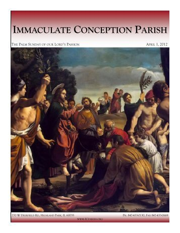 April 1, 2012: Palm Sunday of the Lord's Passion - Immaculate ...