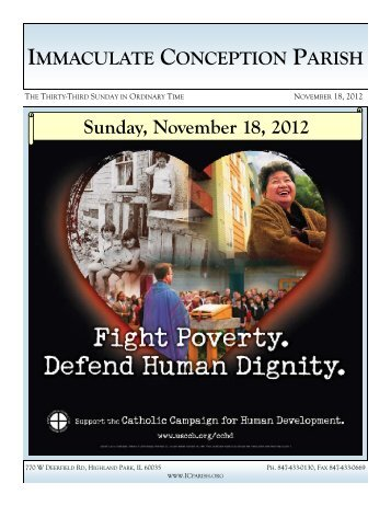 Sunday, November 18, 2012 - Immaculate Conception Parish