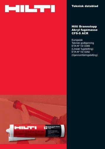 Hilti Brannstopp Akryl fugemasse CFS-S ACR - Motek
