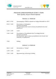 PROGRAM ARBEIDSSEMINAR STYRET i TkMN Sted: Quality ...