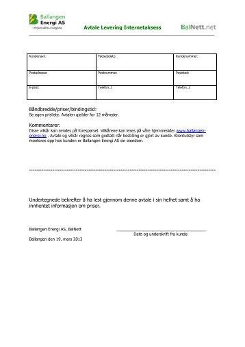 Avtale Levering Internetaksess BÃ¥ndbredde/priser/bi