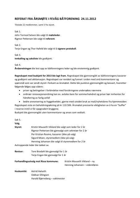 REFERAT FRA ÅRSMØTE I FEVÅG BÅTFORENING 24.11.2012