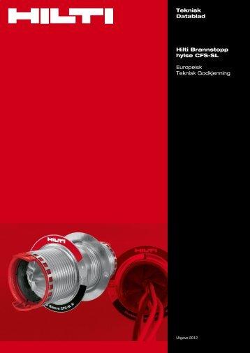 Teknisk Datablad Hilti Brannstopp hylse CFS-SL Europeisk ... - Motek