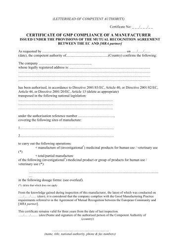 Template For Eu Gmp Certificate Pdf 28kb Australian Pesticides