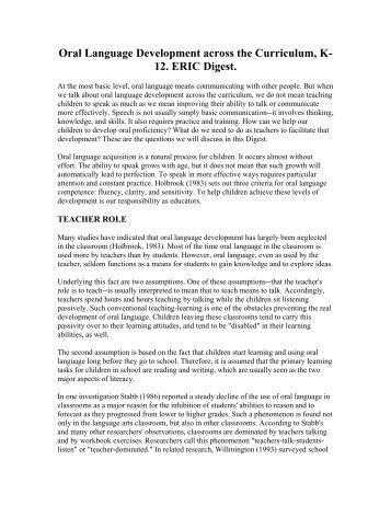 Oral Language Development across the Curriculum, K ... - Casenex
