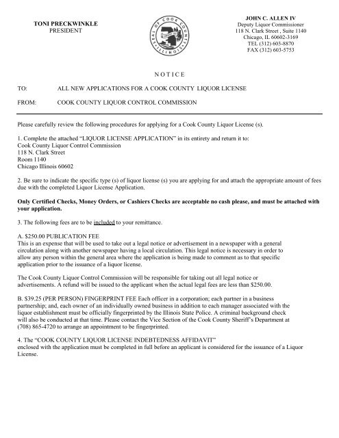 Liquor License Applicant Form - Cook County