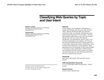Classifying web queries by topic and user intent - Directory