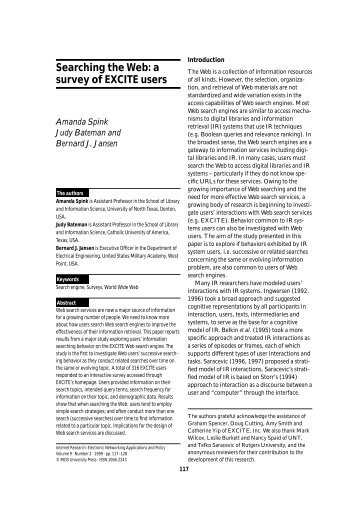 Searching the Web: a survey of EXCITE users - Emerald