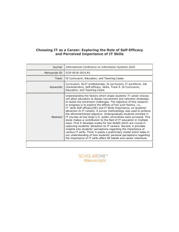 Choosing IT as a Career: Exploring the Role of Self-Efficacy and ...