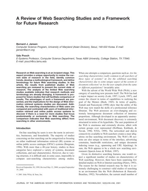 A review of Web searching studies and a framework for future research