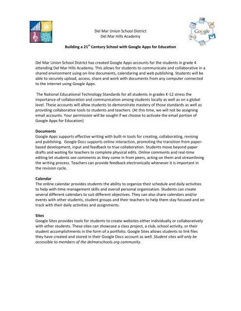 Google Apps Student Agreement - Del Mar Union School District
