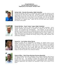 Del Mar Union School District Employees of the Month, October ...