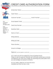 credit card authorization form - National Cheerleaders Association