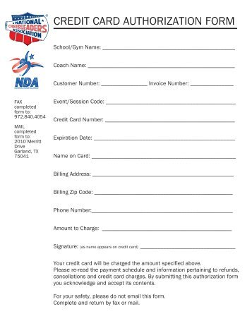 credit card charge authorization form