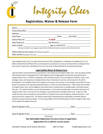 "Liability Release And Waiver Form €"" Minors - Jamspiritsites.Com"