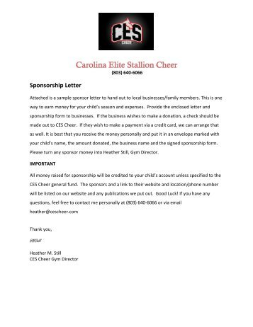 Whittier Bandits Travel Baseball Sponsorship Letter - Free Sports