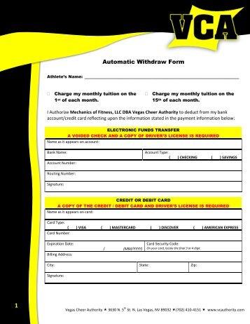 Automatic Withdraw Form - JAMSpiritSites.com