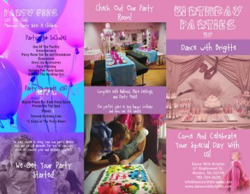 Birthday Party Brochure in PDF Format - Dance With Brigitte
