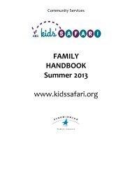 2013 Summer Family Handbook - Community Services ...