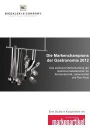Markenchampions der Gastronomie 2012 - Biesalski & Company