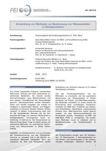 Entwicklung von Methoden zur Bestimmung von Weizenanteilen in ...