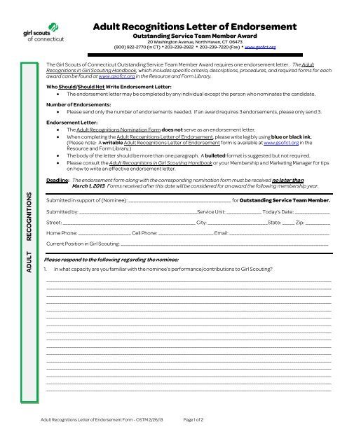 Adult Recognitions Letter of Endorsement Form - Outstanding
