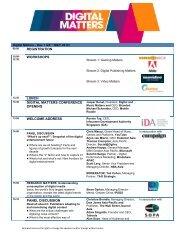 registration workshops lunch digital matters conference opening ...