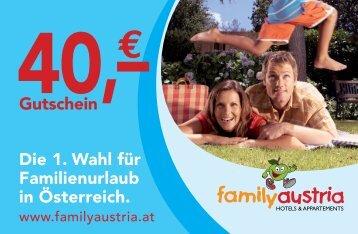 Die 1. Wahl für Familienurlaub in Österreich. Gutschein - Bonihefte