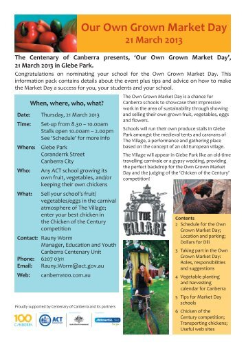 'Our Own Grown Market Day', 21 March 2013 in ... - Canberra 100