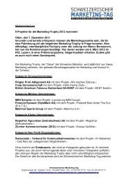 Medienmitteilung: Nominierte Marketing-Trophy für 2012