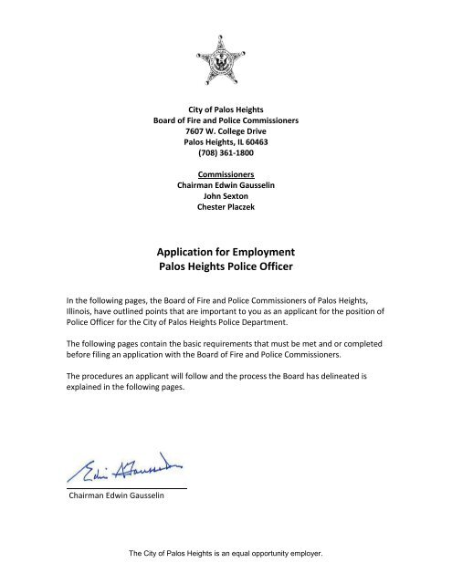 Application For Employment Palos Heights Police Officer
