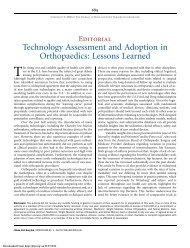 Technology Assessment and Adoption in Orthopaedics: Lessons ...