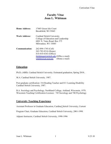 Resume Multiple Positions Same Company Word Kristen Linzmeier Resume  Cardinal Stritch University Two Types Of Resumes Pdf with Executive Director Resume Pdf Me Faculty Resume  Joan Whitman  Cardinal Stritch University Resume Writing Format Pdf