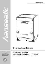 Gebrauchsanleitung Geschirrspüler hanseatic WQP12-J7311A - Baur