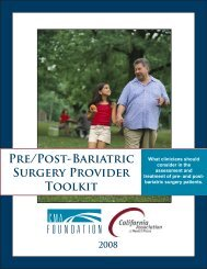 Pre/Post-Bariatric Surgery Provider Toolkit - CenCal Health